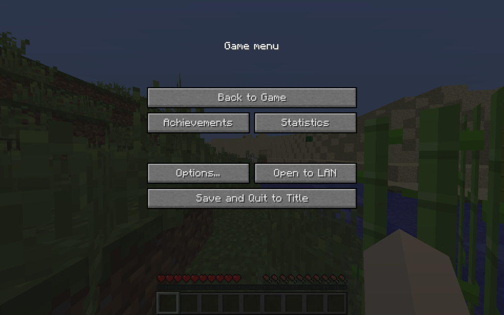 Options Menu: Minecraft