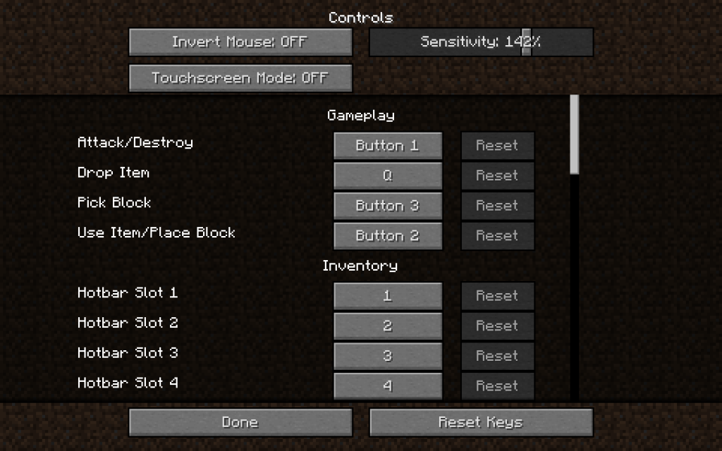 Hotbar Controls Menu